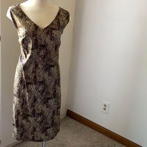 CHICO'S Sleeveless Khaki Cheetah Sheath Dress